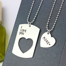 Buy Pendant Necklaces 2p Stainless Steel Love Heart Lovers Couples Romantic Husband Wife Boy Girl Friend Jewelry Charm for $2.99 in AliExpress store