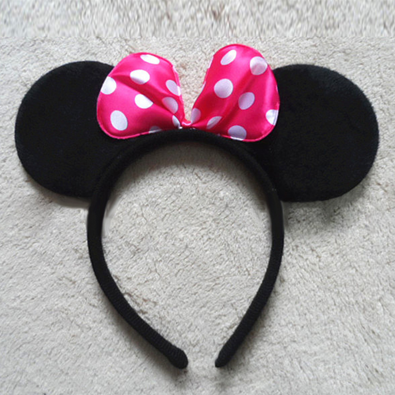 8 Styles Lovely Girls Bows Minnie Mickey Ear Baby Hair Accessories Minnie Mouse Party Bow Headband kid birthday Headwear #B2243(China (Mainland))