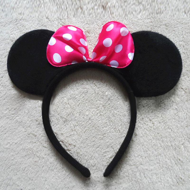 8 Styles Lovely Girls Bows Minnie Mickey Ear Baby Hair Accessories Minnie Mouse Party Bow Headband kid birthday Headwear #B2243(China (Mainland))
