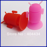 Silicone Android Robot Mobile Phone holder Colorful Sucker suction Stand for iPhone, iPad 300pcs/lot free shipping