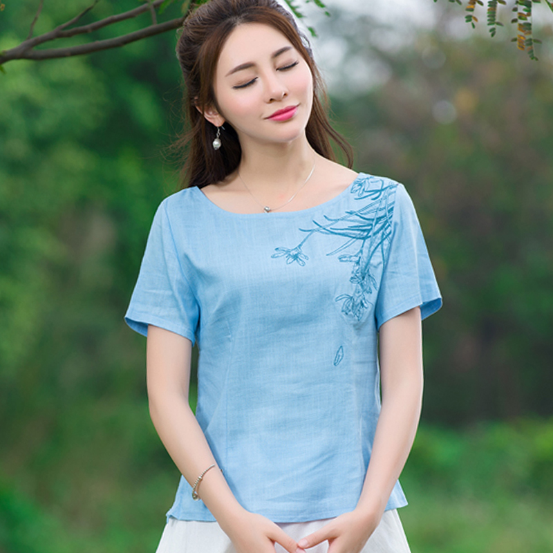 2016 Sky Blue And White Short Sleeve Cotton Linen Round Neck Casual Embroidery Blouse Summer Fashion New Women Tops(China (Mainland))