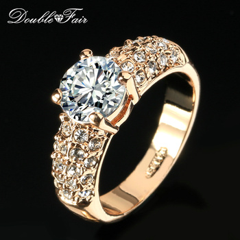 Double Fair Engagement Wedding Rings Cubic Zirconia Rose Gold Plated CZ Stone Ring Jewelry Gift For Women anel Wholesale DFR105