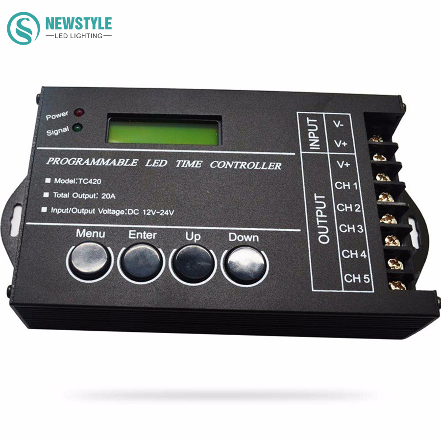 RGB LED Controller Time programable TC420 DC12V/24V 5Channel Total Output 20A Common Anode Programmable Free Shipping(China (Mainland))