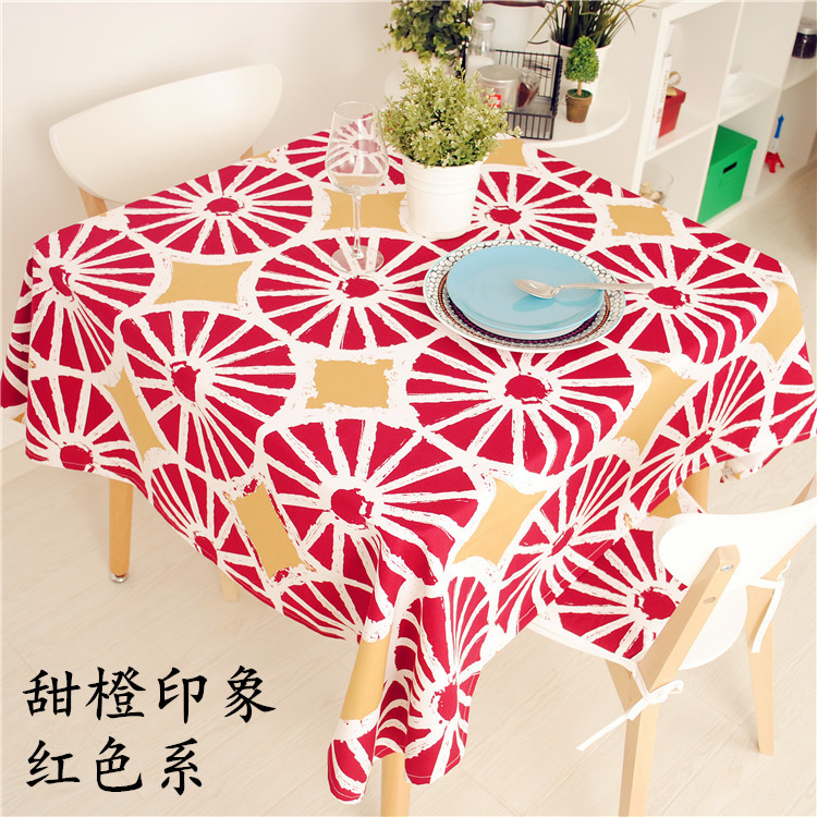 New Arrival North Europe Style Orange Series Tablecloth 100% Cotton Canvas Dinner Table Cover 70*70cm 90*90cm Accept Customize(China (Mainland))