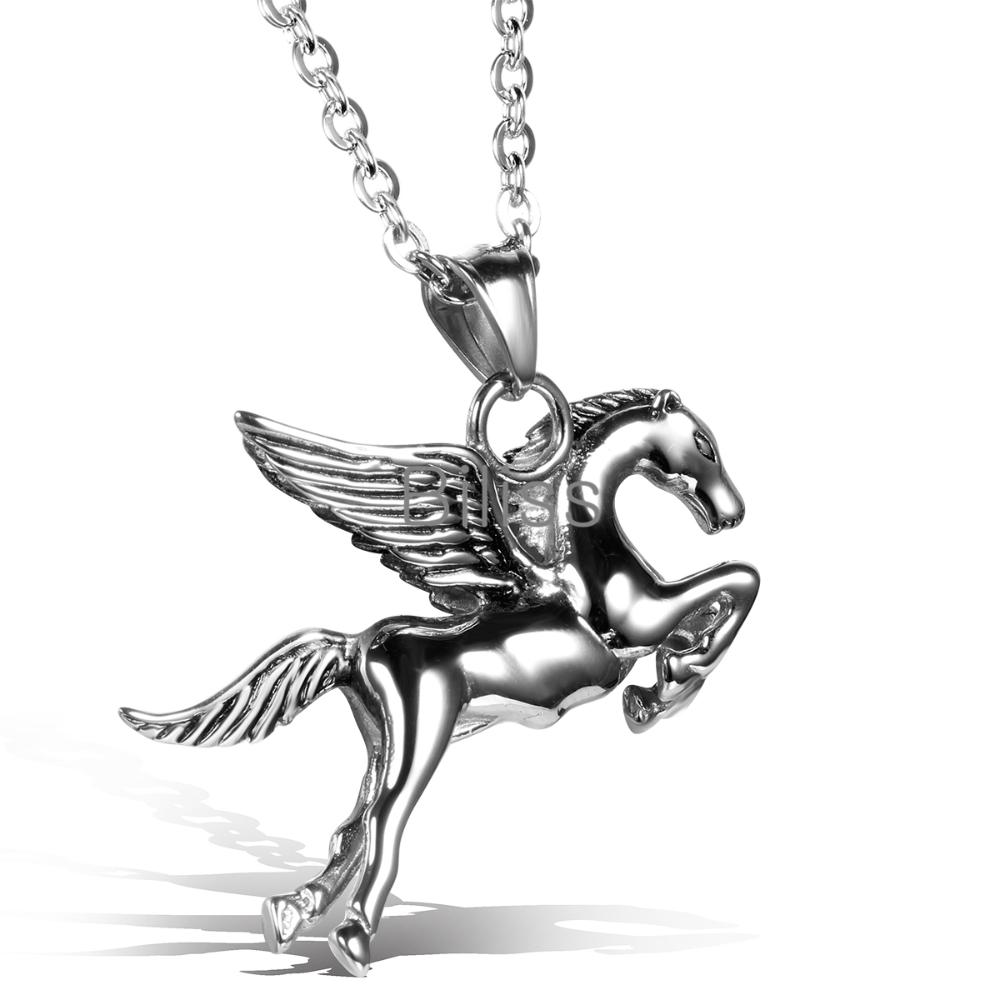 Punk 316L Stainless Steel Horse Jewellery Pegasus Pendant Necklace, Personalized Biker Mens Fashion Jewelry 2015 Biliss(China (Mainland))