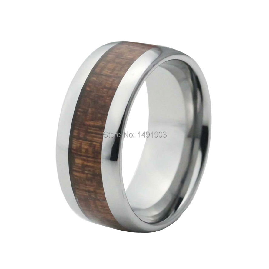 10mm red wood inlay tungsten men ring wedding ring with