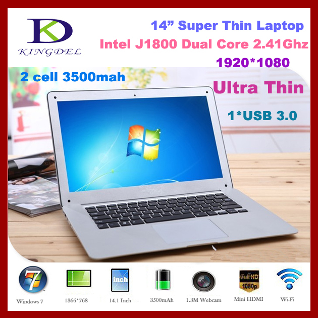 "14.1"" Laptop Computer Ultra Slim Notebook, with Intel Celeron J1800 Dual Core 2.41-2.58Ghz CPU, 8GB RAM,1TB HDD, 1080P, Win 7/8(China (Mainland))"