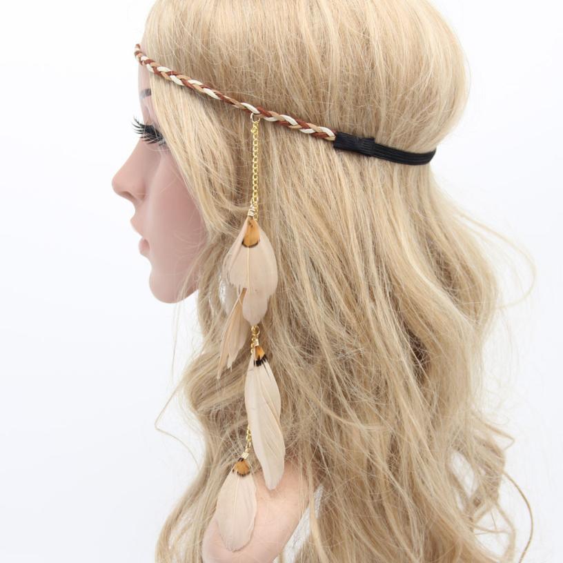 Best Deal New Good Quality Women Bohemia Peacock Feather Headband Beads Hair Rope Carnival Festival Headdress 1PC(China (Mainland))