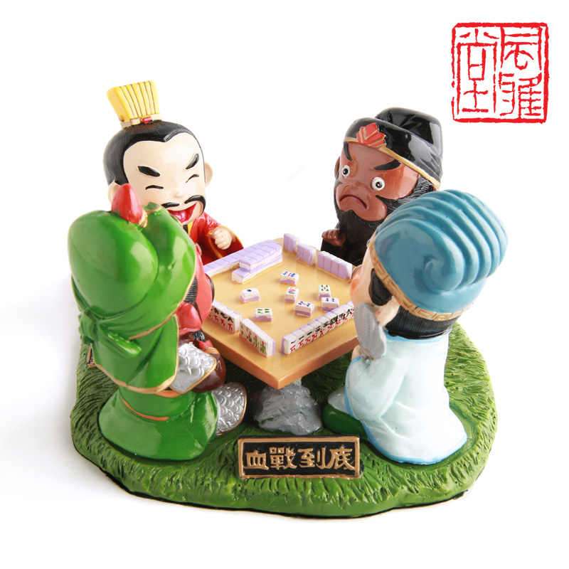 Three kingdoms scene Cartoon Figure Resin Doll Toys Playing Mahjong Creative Idea Gift Desk Decoration Traditional Chinese Craft(China (Mainland))