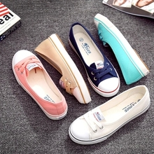 Beier 2015 spring and summer shallow mouth canvas shoes female Korean tidal shoes a pedal lazy