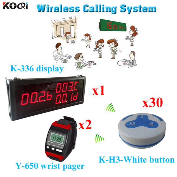 wireless customer calling system For Restaurant with wholesales price1 led display + 2 wrist watch + 30 call button(China (Mainland))