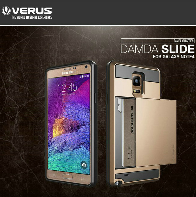 Newest Verus Damda Slide Armor Cases For Samsung Galaxy Note 4 N9100 Card Slider Case with Card Storage Wholesale(China (Mainland))