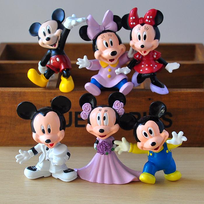 6pcs/set propose marriage version Mickey Minnie doll toys children doll ornaments Automotive birthday cake Decoration(China (Mainland))