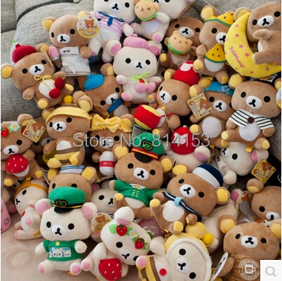 2pcs/pair 30 different models cute Rilakkuma plush dolls stuffed animal soft baby toys for children hot sale free shipping(China (Mainland))