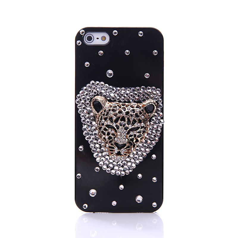 Hot Sale Bling Bling Crystal shell cover Case For IPhone4 4S Leopard head Diamond cell phone case(China (Mainland))