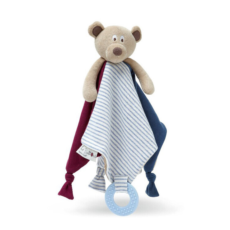 Baby Bear doll appease towel doll baby balnket wiht ring teethers baby doudou lovely toys(China (Mainland))