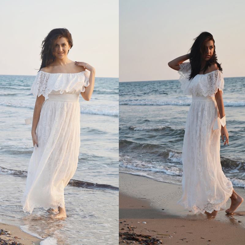 Ivory lace wedding dress beach bohemian wedding gown 70s for Lace maxi wedding dress
