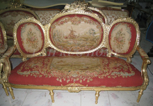 Antique Set of sofa and chairs, Antique handmade living room furniture, Aubusson sofa cover, woolen material Artificial carving(China (Mainland))