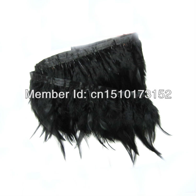 1Yard/lot Dyed Black Chicken Feathers Ribbon 3-5inches/8-13cm Dresses/Hats/Crafts JY4-1 - TiTi Feather Market store