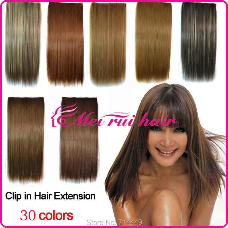 European Style Fiber Clip In Hair Extension Straight 120g Party Hair