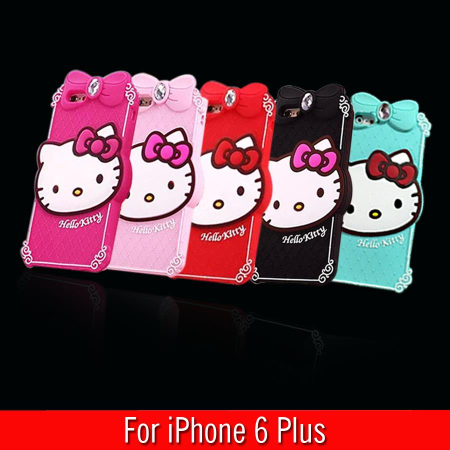 For iPhone 6 Plus Case Diamond Hello Kitty Silicone Design Cell Phone Back Protective Cases Cover iPhone 6 Plus 5.5 Inch(China (Mainland))