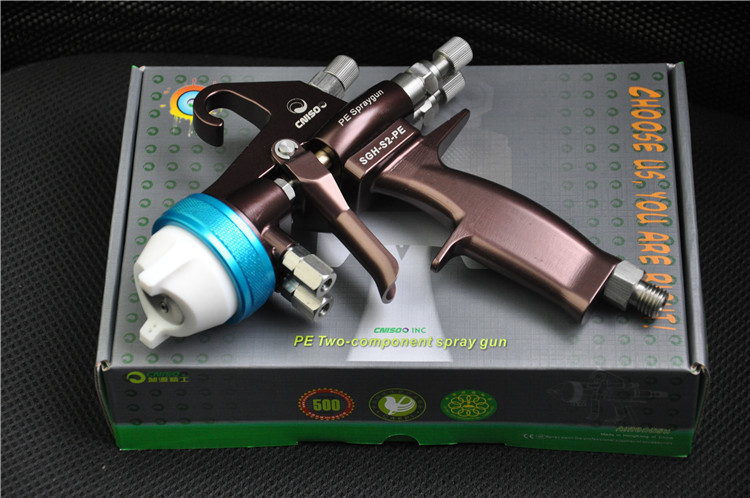 Chrome Silveirng Metal Plating Spray Gun Dual Head Paint Spray Gun for Anti-Acid Chemicals Stainless Steel(SGH-S2-PE)(China (Mainland))