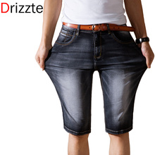 Drizzte Brand Mens Jeans Shorts Plus Size Black Blue Stretch Thin Denim Jeans Short for Men Pants Summer 33 35 36 38 40 42(China (Mainland))