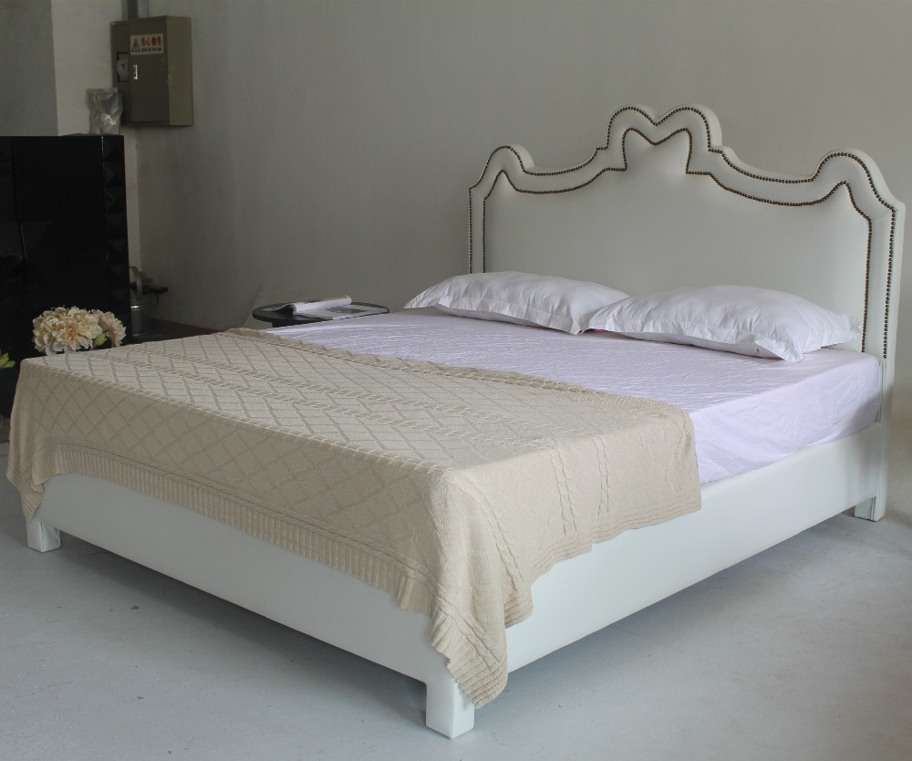 2015 latest double bed frame design white leather bed furniture(China (Mainland))