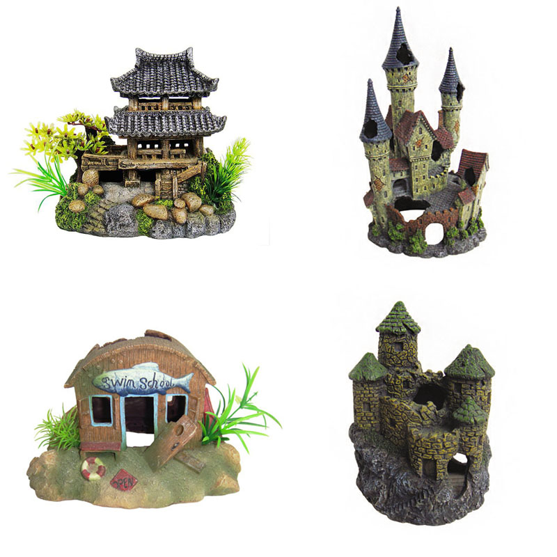 Resin aquarium ornament castles enfeite aquario large fish for Aquarium decoration accessories