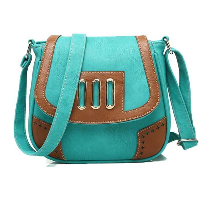 Retro PU leather shoulder bag, three hollow metal decorative flowers messenger bag fashion women's shoulder bag free shopping.(China (Mainland))