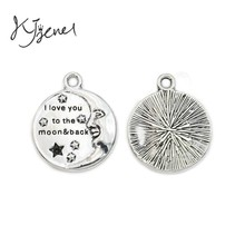 Buy Love Moon Back Charm Pendant Bracelet Necklace Antique Silver Plated Jewelry Accessories Making Handmade for $1.51 in AliExpress store