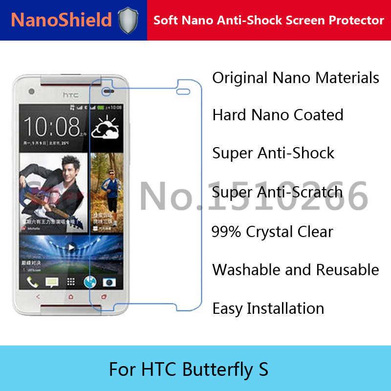 NanoShield Soft Nano Explosion-proof Anti-Shock Screen Protector Protective Film For HTC Butterfly S With Retail Packaging