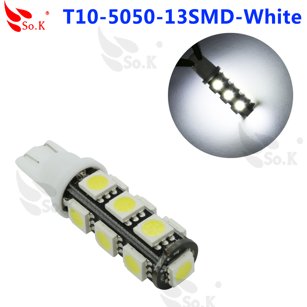 5050 Warm White T10 168 Car SMD 13_led Wedge Inverted Tail Side Bulbs Lights LED Car Stop Tail Side Lights Lamps<br><br>Aliexpress