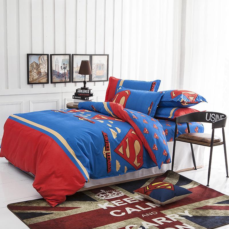 Supermen 4Pcs Printing Luxury Brand King Size Bedding Set Kids Bedding Sets Twin Kids Bedding Set Duvet Cover Parure De Lit(China (Mainland))