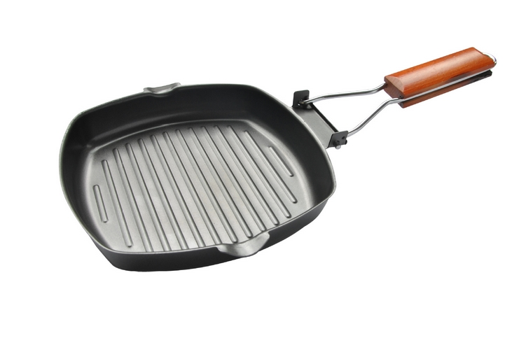 20-28cm Non-sticky Cast Iron Steak Frying Pan Wooden Handle Folding Portable Square Grill Pan Free Shipping(China (Mainland))
