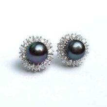 lovely Black Cultured Pearl Earring (2pc)(China (Mainland))