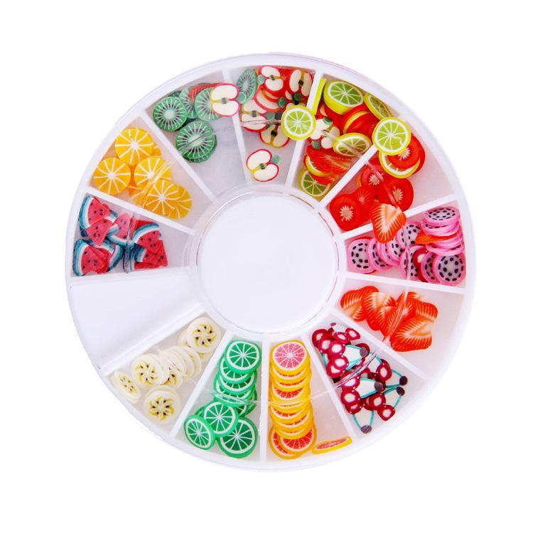 200pcs 3d Polymer Clay Tiny Fimo Fruit Slices Wheel Nail Art Diy Designs Wheel Nail Art Decorations Rhinestones Manicure jewelry(China (Mainland))