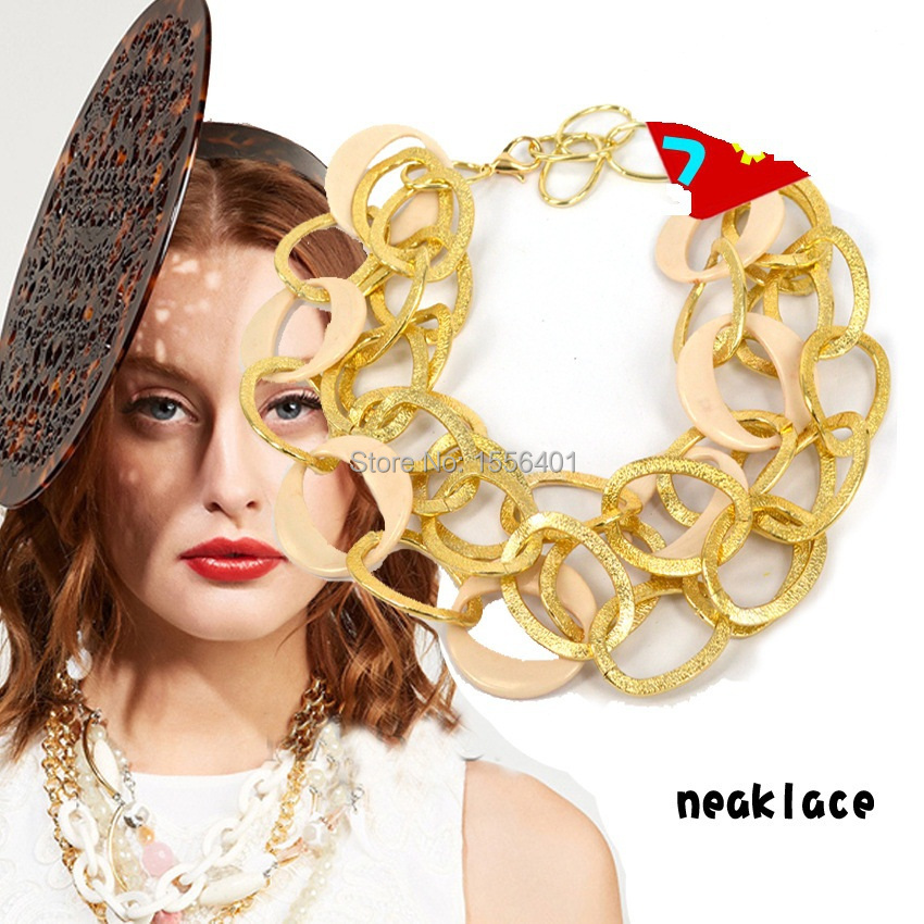 Fashion Link Celebrity Style Alloy Choker Necklace Chunky Chain Gold Color Women New Years Gifts(China (Mainland))
