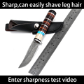 High carbon steel Handmade hunting knives Damascus pattern camping survival tactical pocket knife antler handle Leather