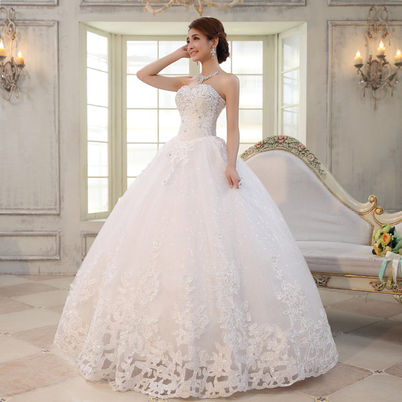 2016 Luxury Rhinestone Princess Tube Top Bandage Wedding