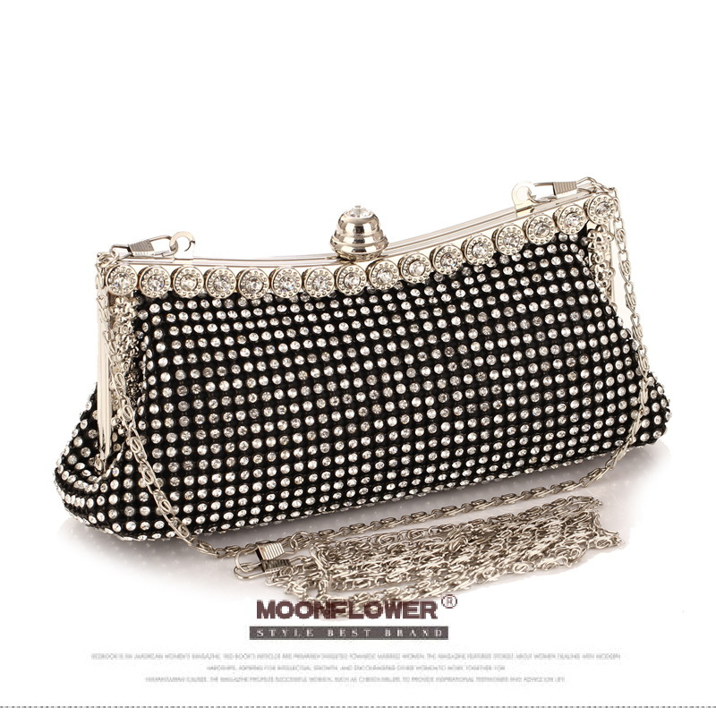 Women's Diamond Clutch Bag Punk Dumpling Shape Full Diamond Evening Bag Party Purse Black/Gold/Silver With Shoulder Chain NO853(China (Mainland))