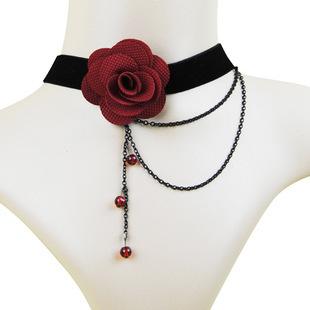 2015 European American Fashion Red Rose Imitation Pearl Necklace Female Retro Black Lace Wedding Dress Accessories Wholesale