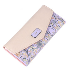 New Fashion PU Leather Envelope Women Wallets 5 Colors Flowers Printing 3Fold Wallet Long Ladies Clutch Coin Purse Card Holder(China (Mainland))