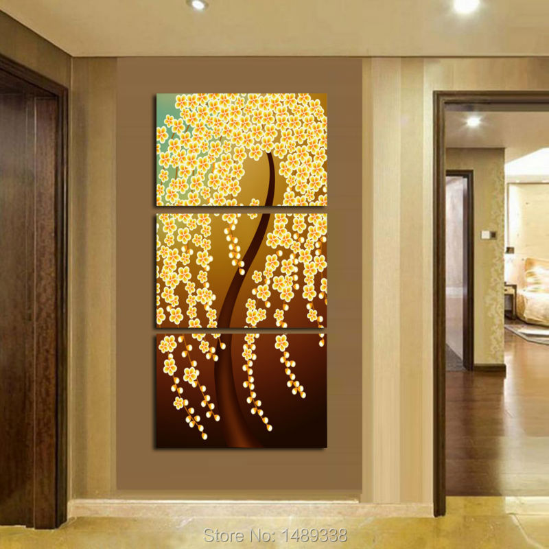 Hot sell 3 Panels home decoration abstract Golden Money tree art Wall pictures Canvas Print Painting home decoration T/474(China (Mainland))