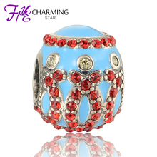 Flower Charms Beads With Red Stone Jewelry Fit European Original Bracelets