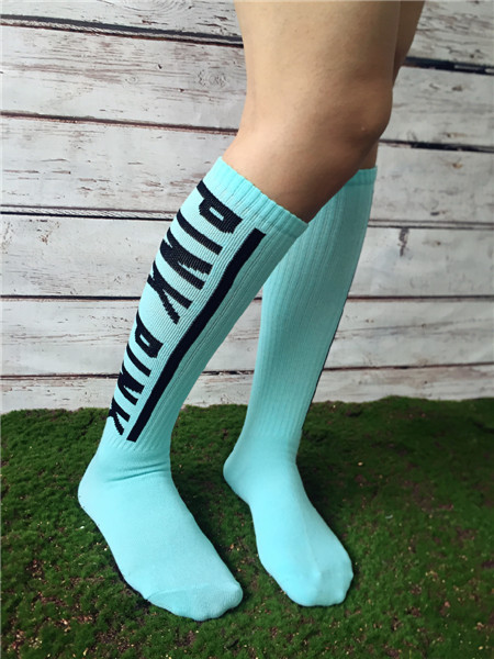 New girl s Victoria PINK Cotton high quality Skateboard long socks women s football sport KNEE