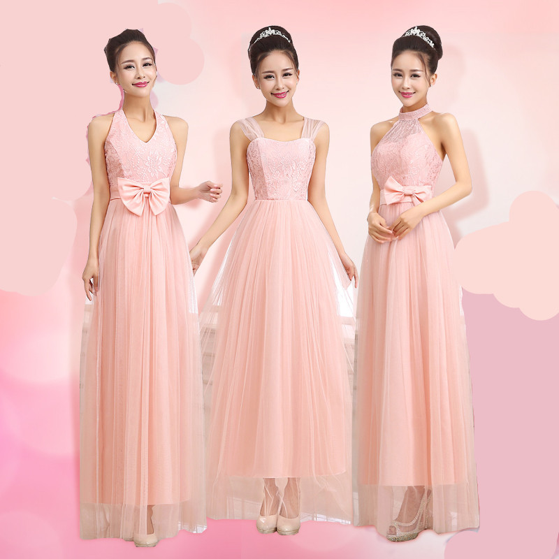Buy sweet pink dress long bridesmaid for Spring summer wedding dresses
