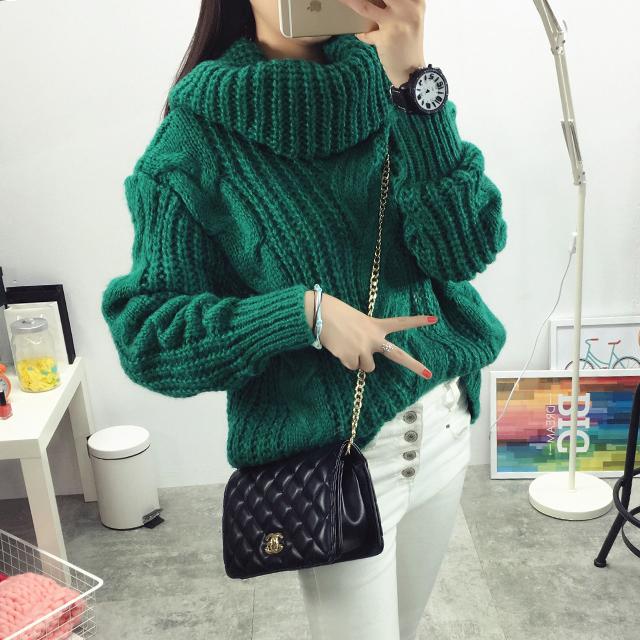 Мода нью-осень зима свитер большой размер конопля цветы шаблон сыпучие толстые теплые ...