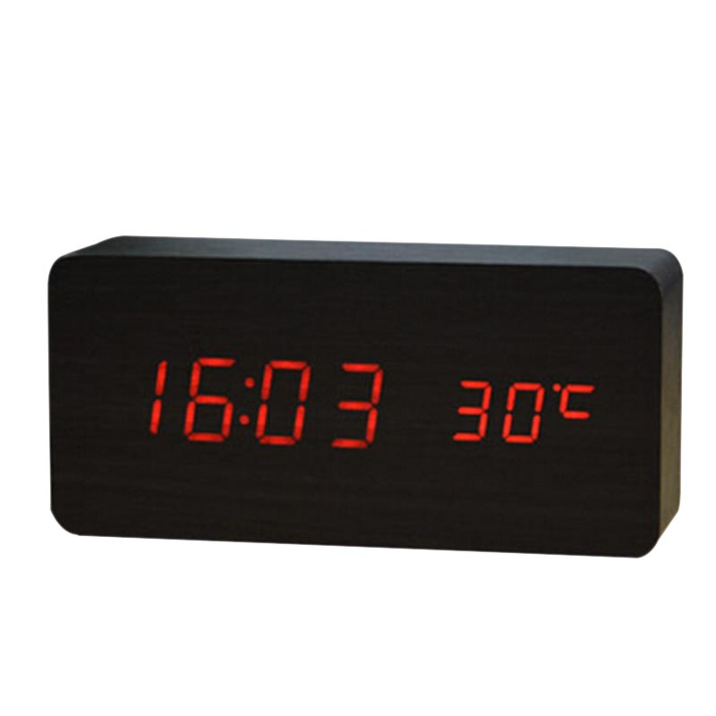 New Multifunction Black Wood Red Digital Table Clocks LED Alarm Clock Despertador Temperature Sound Control LED Display Desktop(China (Mainland))