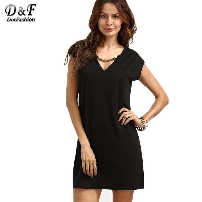 Dotfashion 2016 Summer Solid Women Shift Short Tee Dresses Plain Black V Neck Short Sleeve Straight Mini Dress(China (Mainland))